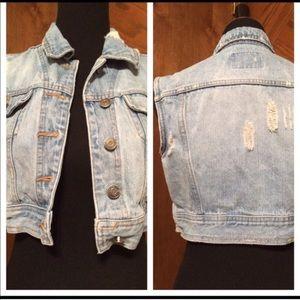 Destructed light denim crop jean jacket